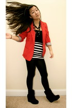 red vintage blazer - black Forever21 tights - black Forever21 top