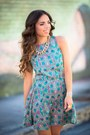 Teal-vividly-dress-carrot-orange-romwe-sunglasses-gold-vahife-necklace