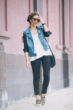 sky blue LAmour Nanette Lepore jacket - black LAmour Nanette Lepore leggings