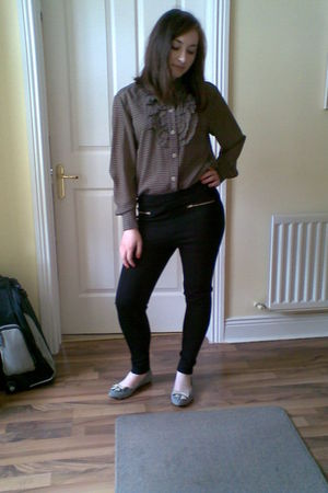 silver Topshop shoes - black H&M leggings - brown vintage blouse