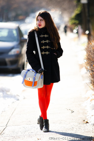 black vintage boots - black vintage coat - carrot orange American Apparel tights
