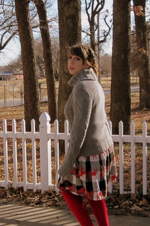 alloy sweater - red tights We Love Colors tights - horse skirt modcloth skirt