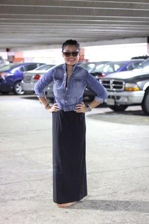 black maxi Old Navy skirt - jean Joe Fresh jacket