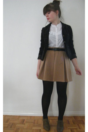 camel Dotti skirt - dark brown Thrift Store blazer - white Miss Shop top