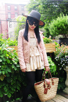 quilted Zara jacket - black skate Jeffrey Campbell boots - two-tone Topshop hat