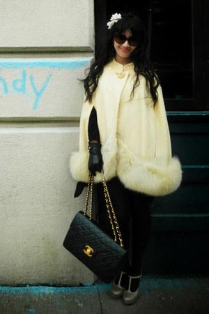 vintage cape - Wolford tights - vintage Chanel bag - Prada sunglasses