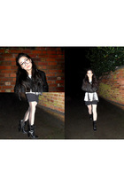 black Mango jacket - white Topshop tights - black aa shirt - black Miss Selfridg