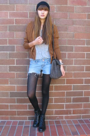 vintage jacket - madewell t-shirt - Earnest Sewn shorts - Old Navy tights - H&M