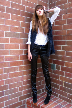 black Forever 21 vest - black Cheap Monday pants - white Gap shirt