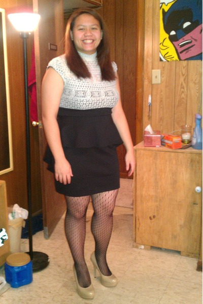 Nude pumps off white lace dresses black lace tights quot getting lace