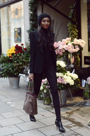 black ankle boots boots - dark brown Zara jacket - Louis Vuitton bag