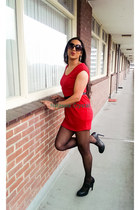 red red dress Forever 21 dress - black leather paula soler heels