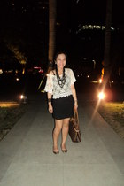 cream cropped lace thrifted top - black bandage Forever 21 skirt - gold ballet R