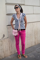 pink leather Brit Stitch bag - hot pink denim OASAP leggings