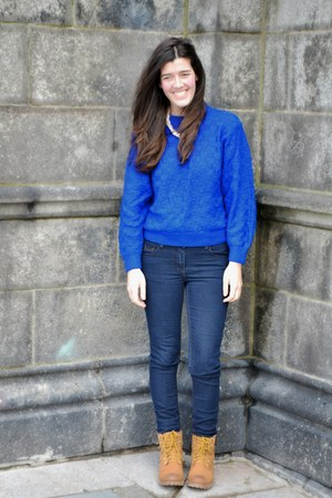 blue handmade Natbees sweater - burnt orange Forever 21 boots - navy next jeans
