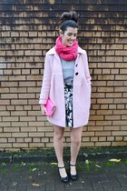 hot pink handmade Natbees scarf - bubble gum vintage coat - black Primark skirt