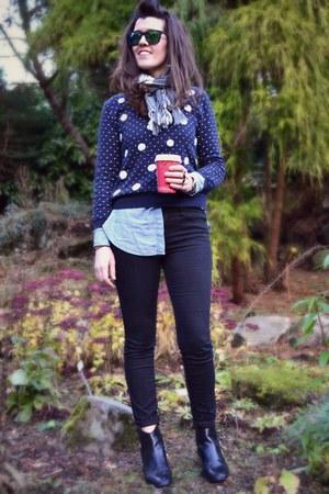 black Daniel boots - black Forever 21 jeans - romwe sweater