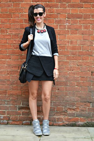 black cotton Primark blazer - black faux leather romwe bag