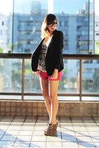 mustard Schutz wedges - black Renner blazer - white Zara shirt