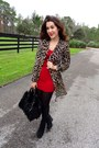 Black-faux-fur-h-m-bag-black-forever-21-wedges-dark-brown-vintage-cardigan