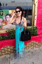 turquoise blue maxi Surf shack dress - black beanie papaya hat