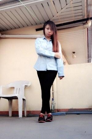 dark gray shoes - dark gray pants - light blue top