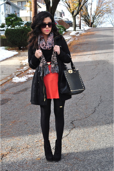 Charlotte Russe skirt - Steve Madden boots - H&amp;M coat - H&amp;M tights - H&amp;M scarf