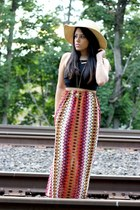 gypsy warrior skirt - floppy Charlotte Russe hat - crop furor mora top