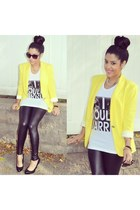 Zara blazer - H&M leggings - Product of Privilege t-shirt - Bakers pumps
