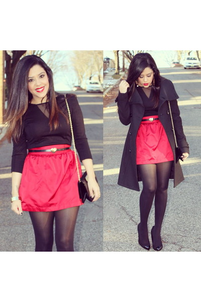 Forever21 skirt - Bakers shoes - H&M coat - Forever21 shirt - Aldo bag
