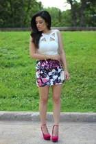 floral print trinity place skirt - mini H&M bag - Forever21 wedges