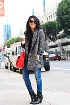 Olivia  Joy bag - booties Forever21 boots - oversized H&M coat