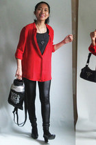 red chiffon PERSUNMALL shirt - silver thrifted bag - black c&a pants