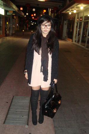 pink Topshop dress - black Topshop boots - black Mink Pink cardigan - black Mimc