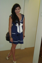 blue Ebay dress - black Chanel lambskin 255 purse - beige tony bianco shoes - go