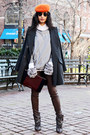 Charcoal-gray-isabel-marant-boots-carrot-orange-hermes-hat
