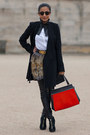 Black-tom-ford-boots-black-balenciaga-coat-carrot-orange-celine-bag