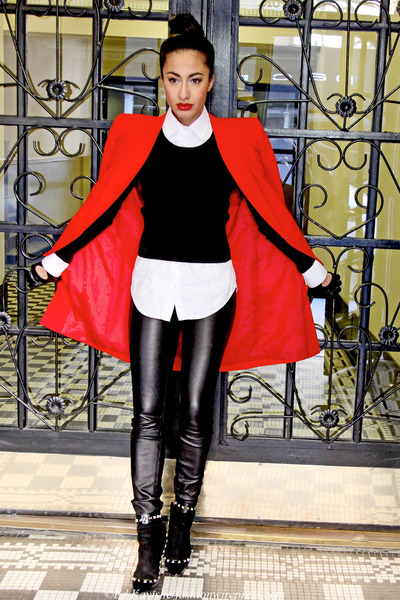 red Givenchy coat - black Miu Miu sweater - dark gray Valentino heels