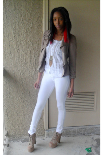 tan lita Jeffrey Campbell boots - tan Anthropologie blazer - white Buckle shirt