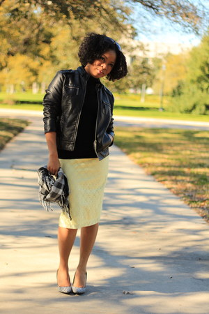 vegan leather 15 Dollar Store jacket - lace DIY skirt - H&M blouse