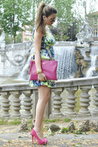aquamarine Zara dress - hot pink asos shoes - hot pink Coccinelle bag