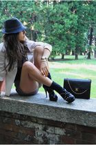 black vintage hat - black vitulli shoes - yellow Prada blazer