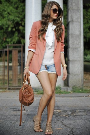 coral Forever 21 blazer - sky blue Miss Sixty shorts