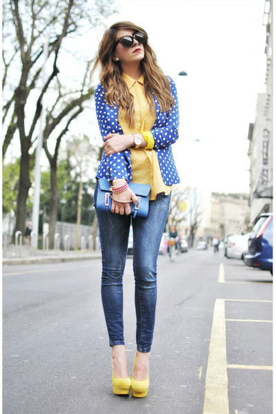 yellow sarenzait shoes - blue Queens Wardrobe jacket - blue coccinelle bag bag