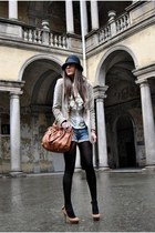 Bershka hat - Zara jacket - Miu Miu bag - REPLAY shorts - Bershka heels - Luisa