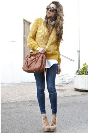 gold silvian heach sweater - blue Zara jeans