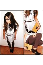 brown Botticelli boots - beige Iceberg purse - white asos blouse - silver Chanel