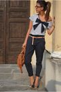 Blue-roberto-della-croce-shoes-blue-zara-pants-white-asos-shirt-brown-miu-