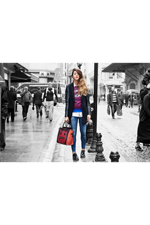 ruby red Kenzo dress - navy Zara jeans - black Stradivarius blazer