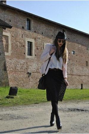 black asos boots - peach Prada blazer - black Luisa Beccaria shirt